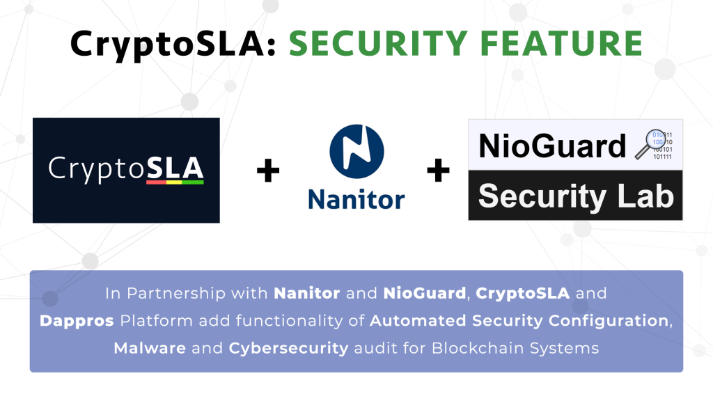 blockchain cyber security - partnership CryptoSLA, Nanitor, NioGuard