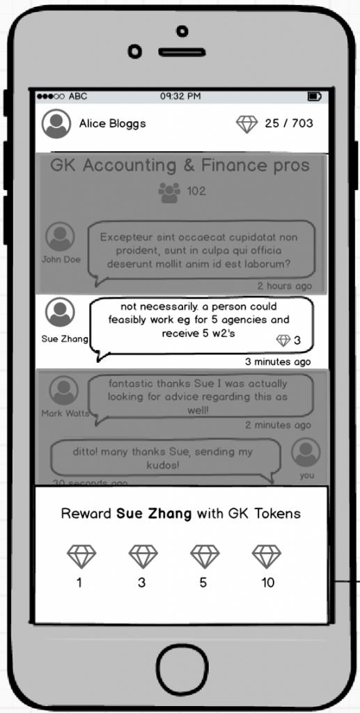 mobile app blockchain token for chat rewards
