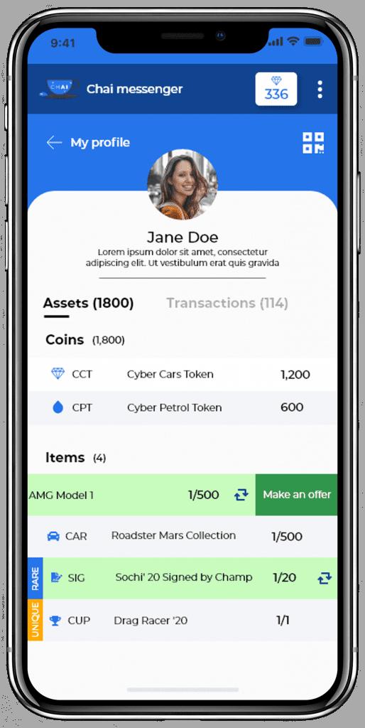 Chai app profile screen